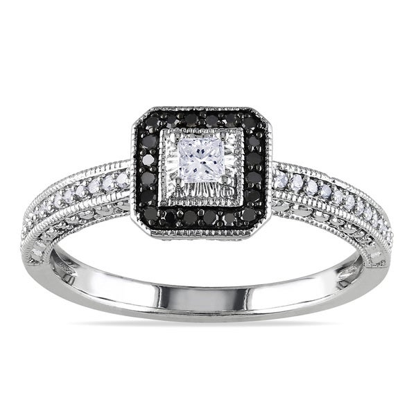Miadora 10k White Gold 1/4ct TDW Black Halo White Center Diamond Ring