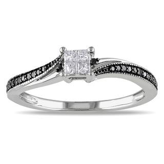 Miadora 10k White Gold 1/5ct TDW Black and White Diamond Ring