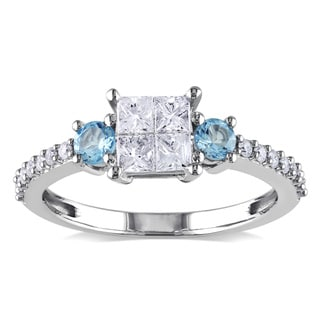 Miadora 14k White Gold 1/2ct TDW Diamond and Blue Topaz Ring (H-I, I2-I3)