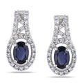 Miadora 10k White Gold Sapphire and 1/4ct TDW Diamond Earrings (G-H, I1-I2)