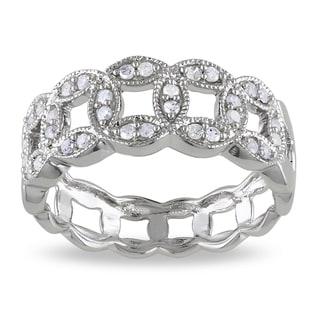 Haylee Jewels Sterling Silver 1/4ct TDW Link Diamond Ring (I-J, I2-I3)