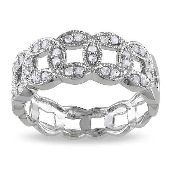 Miadora Sterling Silver 1/4ct TDW Link Diamond Ring (I-J, I2-I3)