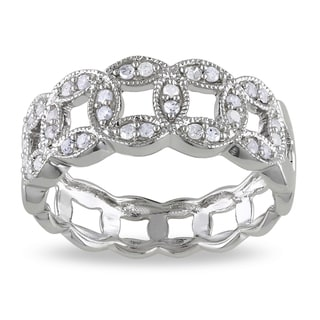 Miadora Sterling Silver 1/4ct TDW Link Diamond Ring (I-J, I2-I3)