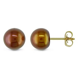 Miadora 10k Yellow Gold Freshwater Brown Pearl Stud Earrings (6-6.5 mm)