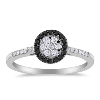 Haylee Jewels Sterling Silver 1/4ct TDW Black and White Diamond Halo Ring
