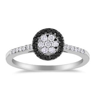 Miadora Sterling Silver 1/4ct TDW Black and White Diamond Halo Ring