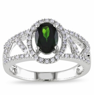 Miadora 10k White Gold Chrome Diopside 1/5ct TDW Diamond Ring (G-H, I1-I2)