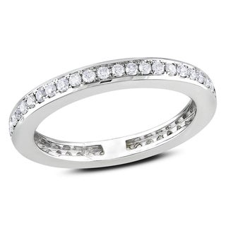 Miadora 14k White Gold 2/5ct TDW Diamond Eternity Ring (G-H, SI1-SI2)