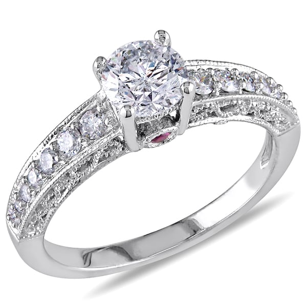 Miadora Signature Collection L'amour Enrose by 14k White Gold 1ct TDW Diamond and Pink Sapphire Ring (H-I, I2-I3)