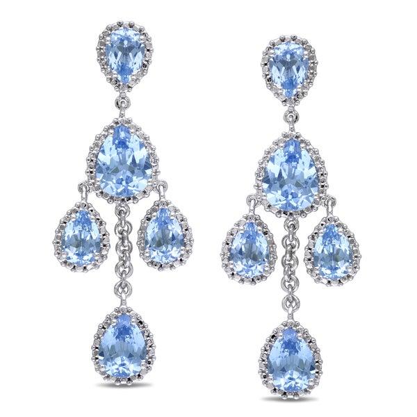 Miadora Sterling Silver Created Aquamarine Chandelier Earrings