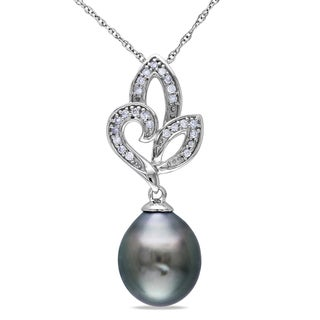 Miadora 10k White Gold Black Tahitian Pearl and Diamond Necklace (9-9.5 mm)