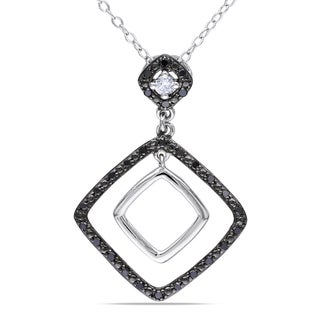 Miadora Sterling Silver 1/5ct TDW Black and White Diamond Necklace