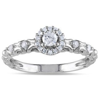 Miadora Sterling Silver 1/4ct TDW Halo Diamond Ring (H-I, I2-I3)