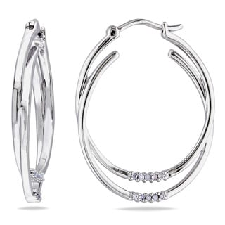 Miadora Sterling Silver 1/10ct TDW Diamond Hoop Earrings (H-I, I2-I3)