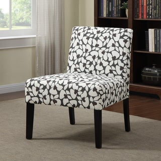 Portfolio Niles Charcoal Gray Modern Floral Armless Accent Chair