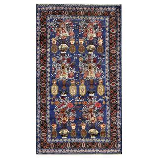 Afghan Hand-knotted Tribal Balouchi Blue/ Brown Wool Rug (3'8 x 6'4)