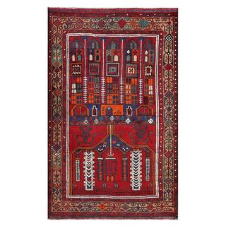 Afghan Hand-knotted Tribal Balouchi Red/ Orange Wool Rug (3'10 x 6'2)
