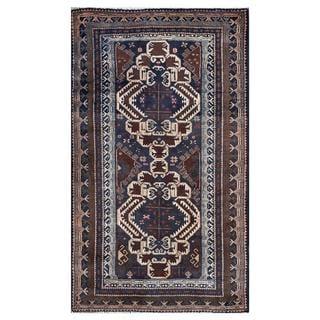 Afghan Hand-knotted Tribal Balouchi Dark Blue/ Ivory Wool Rug (3'7 x 6'0)