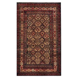 Afghan Hand-knotted Tribal Balouchi Light Brown/ Dark Grey Wool Rug (3'2 x 5'3)