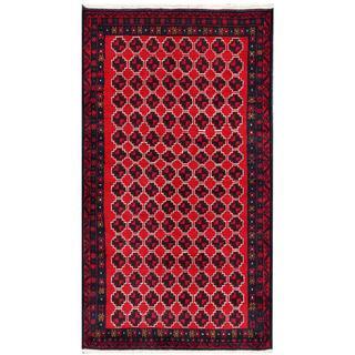 Afghan Hand-knotted Tribal Balouchi Red/ Dark Grey Wool Rug (3'5 x 6'4)