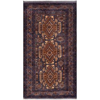 Afghan Hand-knotted Tribal Balouchi Navy/ Brown Wool Rug (3'7 x 6'8)