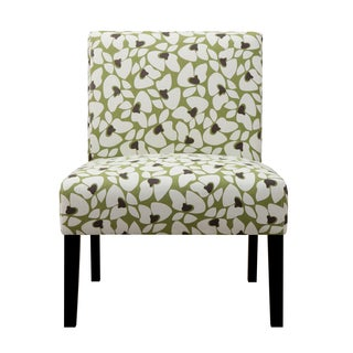 Portfolio Niles Apple Green Modern Floral Armless Accent Chair
