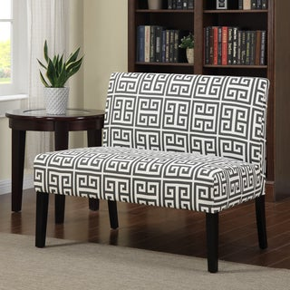 Portfolio Niles Smoky Charcoal Gray Greek Key Armless Settee