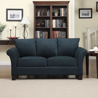Portfolio Provant Flared Arm Midnight Blue Microfiber Sofa