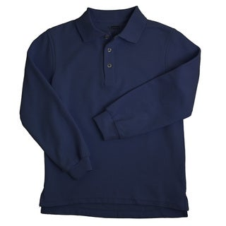 French Toast Children's 4-20 Long Sleeve Pique Navy Polo Shirt