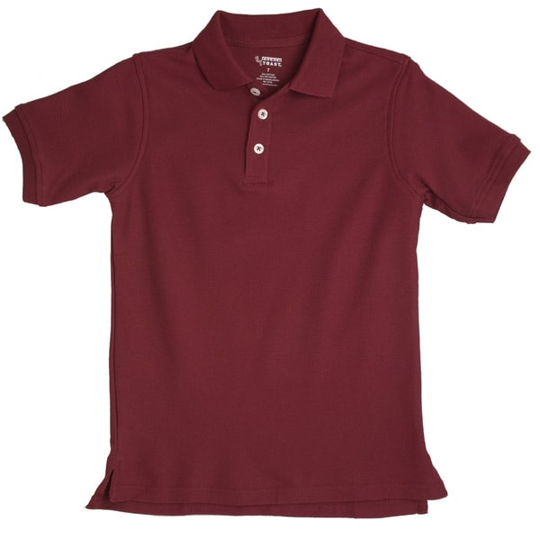 French Toast Children's Short Sleeve Pique Burgundy Polo Shirt