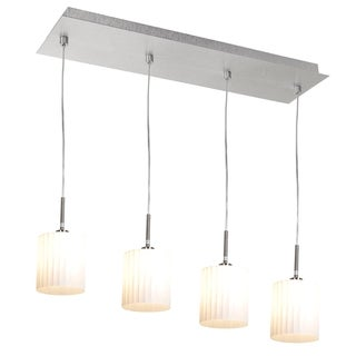 Access Leilah 4-light Brushed Steel Scalloped Glass Pendant