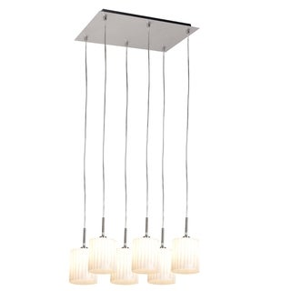 Access Leilah 6-light Brushed Steel Scalloped Glass Pendant