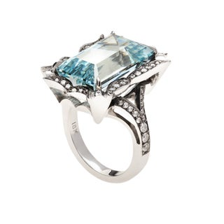 18k Gold Aquamarine and 1/2ct TDW Diamond Gothic Ring (G, VS2)