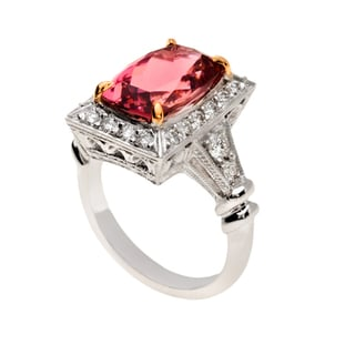 14k Gold Pink Tourmaline and 3/4ct TDW Diamond Antique Ring (G-H, VS1-VS2)