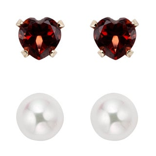 Pearlyta 14k Gold Children's Garnet and FW Pearl Earring Set (4-6 mm) with Gift Box