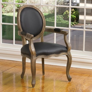 Jacob Black Leather Weathered Oak Arm Chair