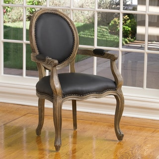 Christopher Knight Home Jacob Black Leather Weathered Oak Arm Chair