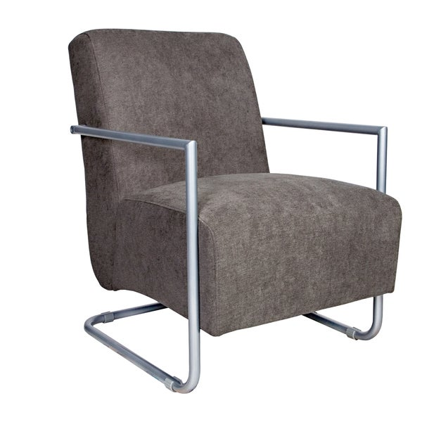 Angelo:HOME Roscoe Parisian Smoky Gray Arm Chair With Silver Frame