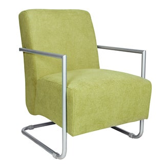 angelo:HOME Roscoe Parisian Green Meadow Velvet Arm Chair with Silver Frame