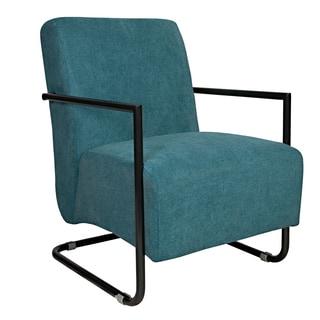 angelo:HOME Roscoe Parisian Teal Blue Velvet Arm Chair with Black Frame