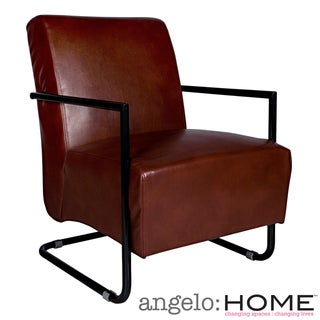 angelo:HOME Roscoe Deep Wine Red Renu Leather Arm Chair