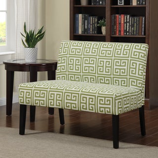 Portfolio Niles Apple Green Greek Key Armless Settee