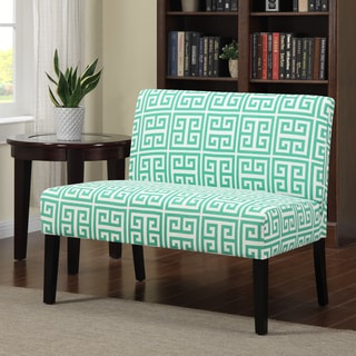 Portfolio Niles Soft Emerald Green Greek Key Armless Settee