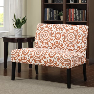 Portfolio Niles Orange Spice Medallion Armless Settee