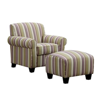 Portfolio Mira Amethyst Purple Stripe Arm Chair and Ottoman