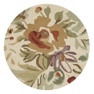 Hand-hooked Charlotte Ivory/ Multi Rug (3' Round)