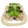 Michael Valitutti 14k Yellow Gold Peridot, Blue Sapphire and Diamond Ring