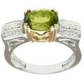 Michael Valitutti 14k Two-tone-gold Oval-cut Peridot and Diamond Ring