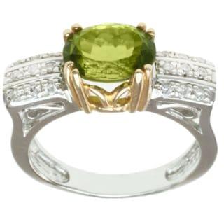 Michael Valitutti 14k Two-tone-gold Oval-cut Peridot and Diamond Ring