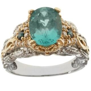 Michael Valitutti 14K Two-tone Gold Paraiba Apatite and Diamond Women's Ring